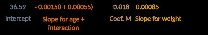 36.59 + (- 0.00150 + 0.00055) * 42 + 0.018 + 0.00085 * 82 = 36.6378